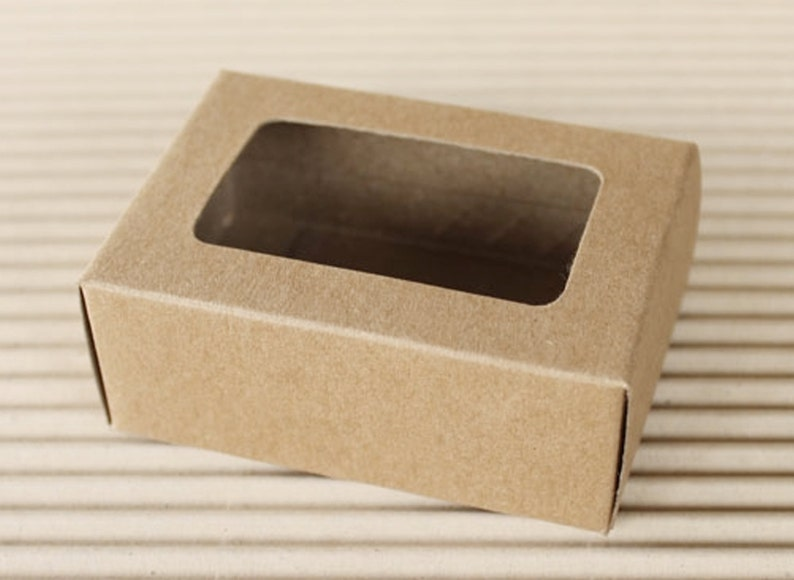 Premium Rectangle Kraft Gift Box Window Display Box Rectangle Box 20 Pcs