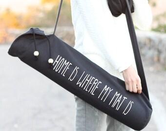 Schwarz-Yoga Mat Bag - ist Startseite, wo mein Mat - Yoga Mat - Sling Yoga - Yoga - schwarz Mat Bag - Mat Bag - Yoga Mat Bag - Yoga Tragetasche