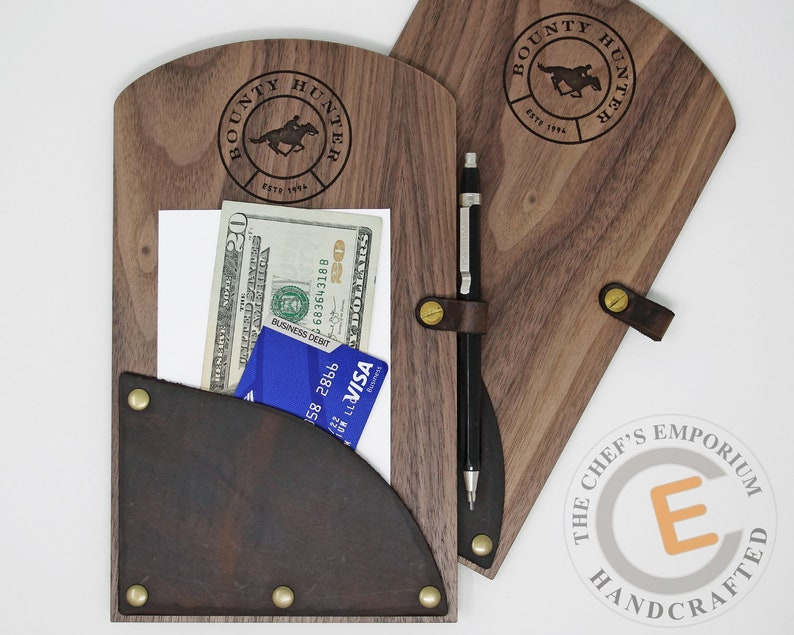 Check Presenter  Wood and Leather  Check Holder  Classy image 0