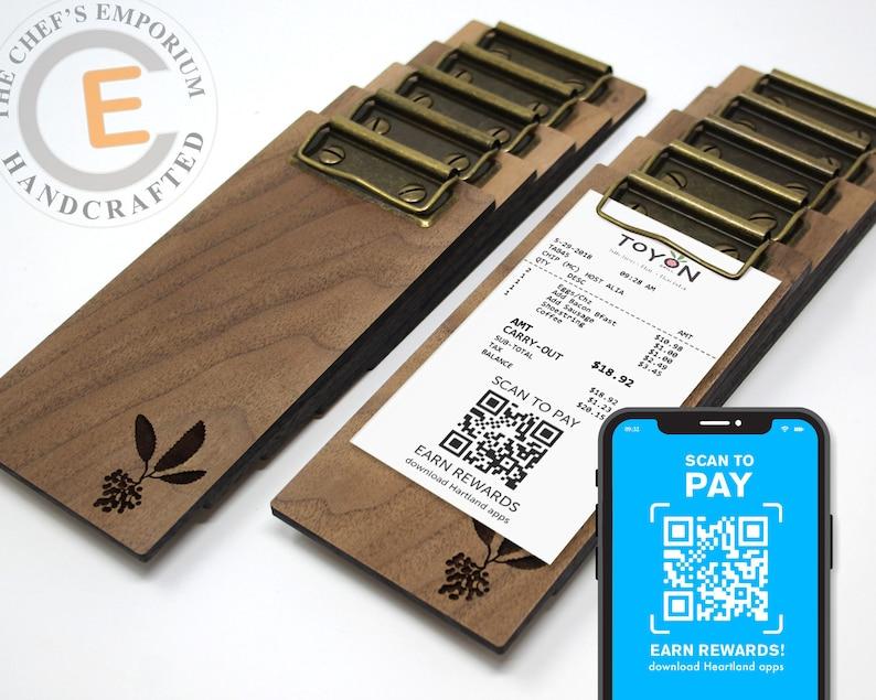 Touchless Check Presenter  MINI Clipboard  WALNUT  Wooden Solid Walnut