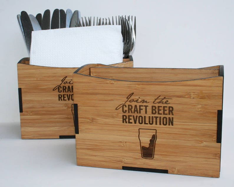 Restaurant Table Caddy  Wooden Cutlery and Napkin Holder. image 0