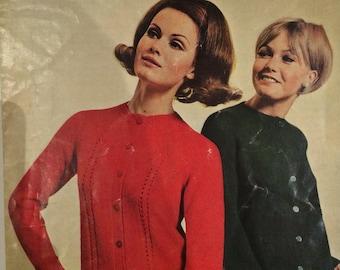 Robin Vintage Knitting Pattern 1434 4-ply Cardigans x2 1960s