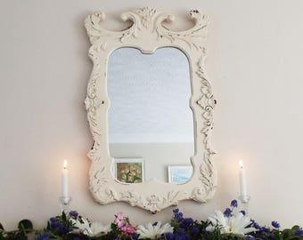 Distressed Mirror Vintage Mirror Hand Painted Mirror Framed mirror  French shabby chic Mirror Rustic Mirror M216
