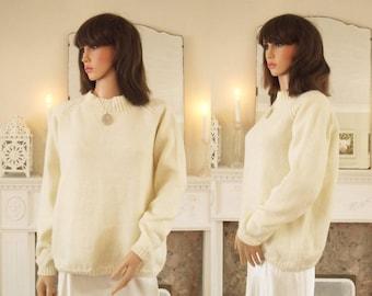 Hand Knitted chunky cream jumper Cream hand knit sweater Chunky cream  sweater Classic cream jumper Soft chunky handknitted jumper Ivory 2a969921a