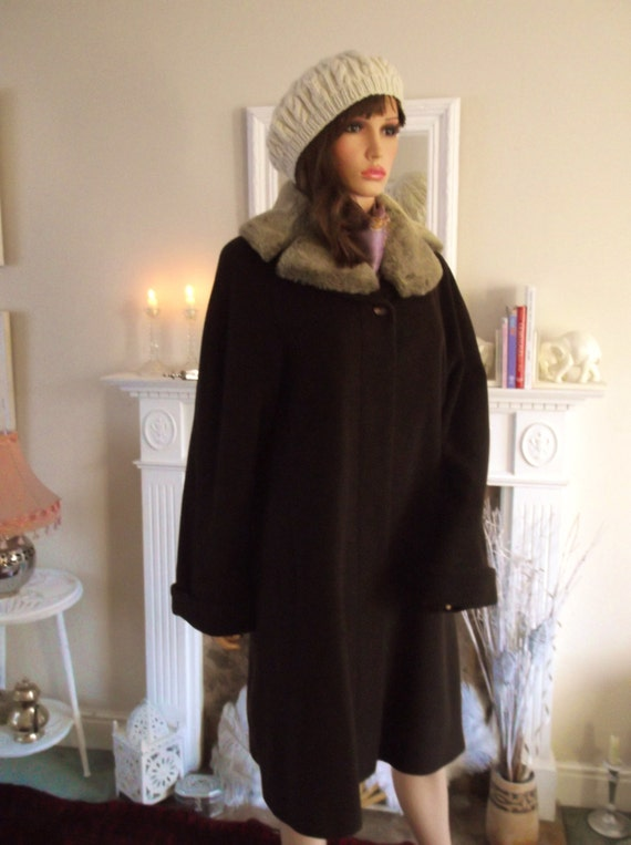 Winter coat 65% virgin wool angora Coat Faux fur c