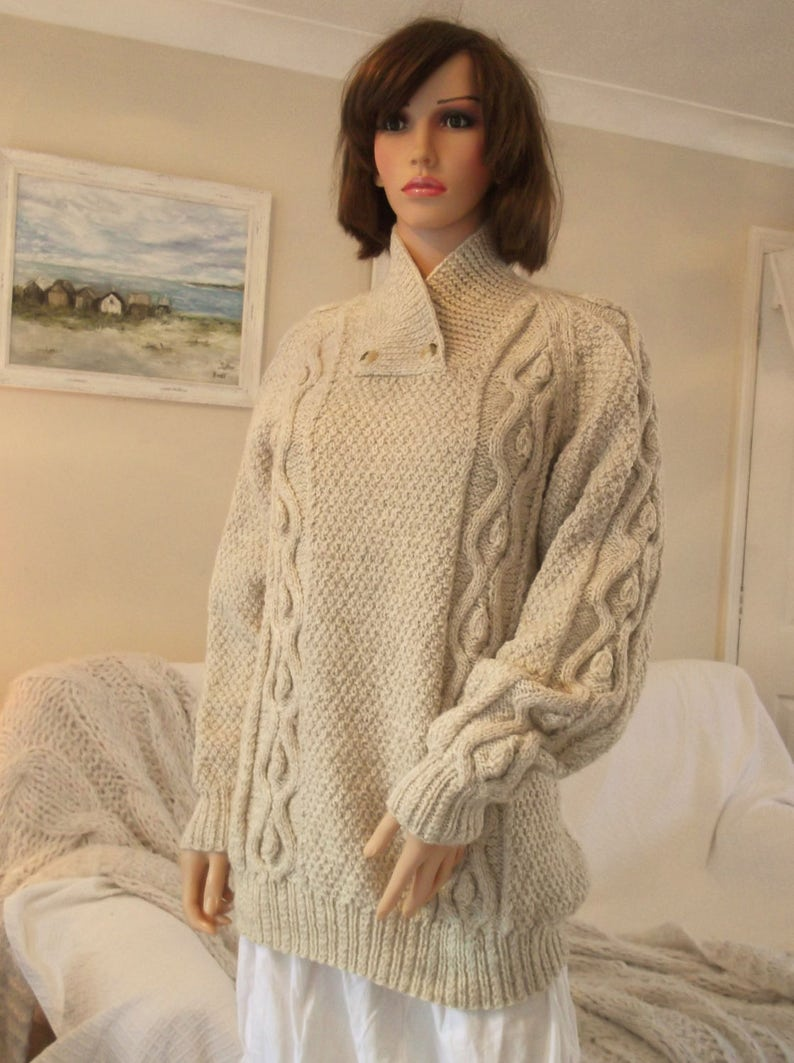 Hand Knitted Aran Jumper Traditional Cream Aran Sweater Hand Etsy