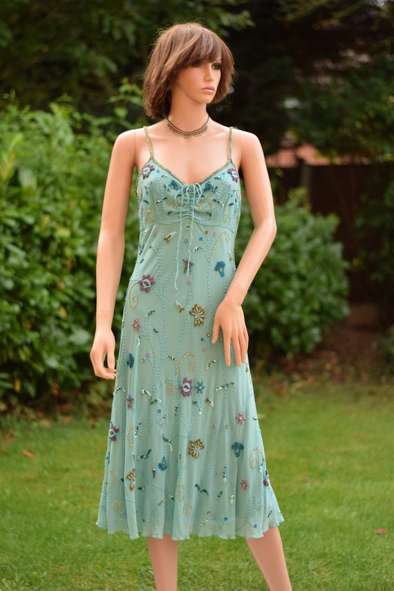 Robins egg glass beaded floral sequin chiffon dres