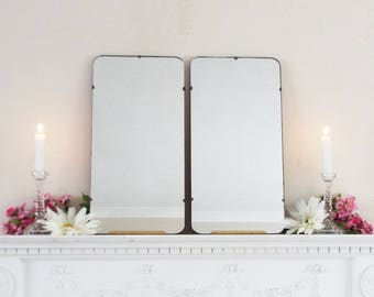 Pair of Vintage Mid Century Modernist Mirrors, Two Frameless mirrors, 2 Feature Wall Mirrors  M337