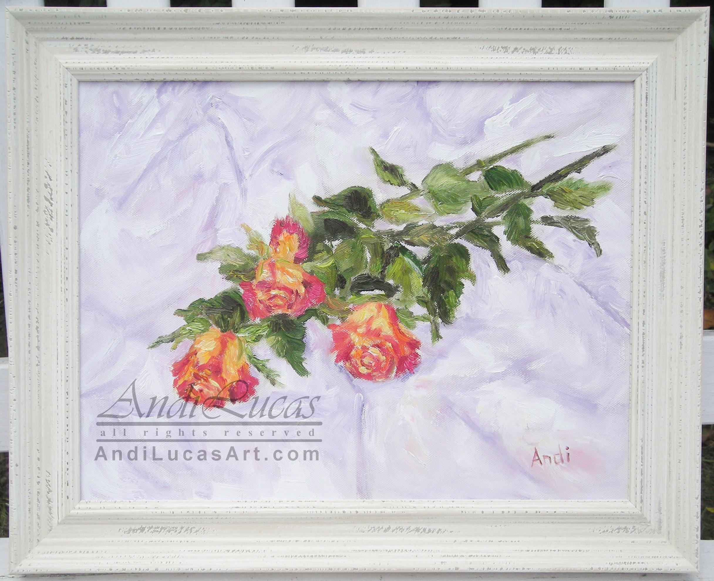 Rose Spray Blumen Blumen Original Ölgemälde gerahmt Stillleben | Etsy
