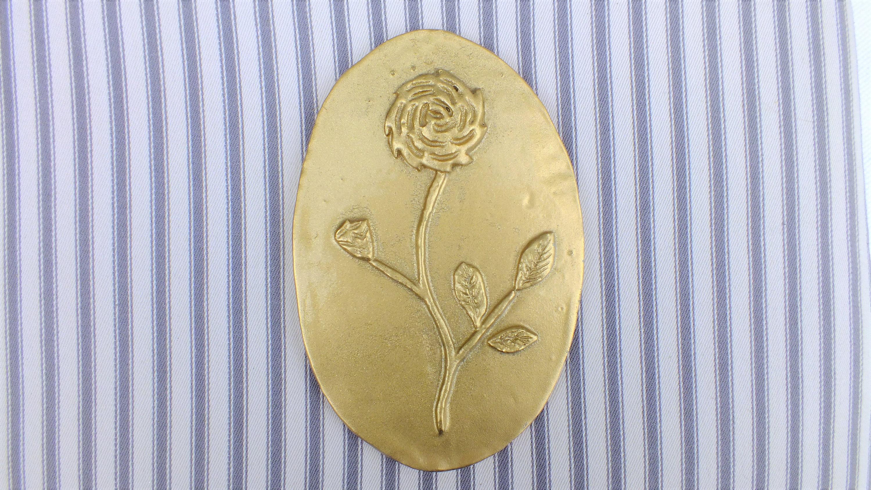 Vintage Ceramic Gold Gilt Sparkling Flower Wall Plaque