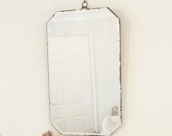 Large Antique Mirror Vintage Mirror Octagonal Mirror Modernist Mirror Art Deco mirror frameless mirror French shabby chic  M138