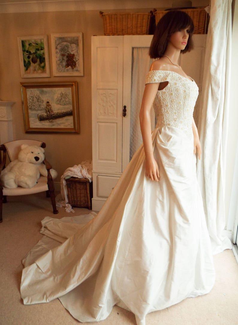 Ivory Silk Wedding Dress Italian Designer Silk Wedding Dress Etsy
