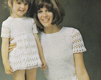 Vintage crochet dress pattern mother daughter dress pdf INSTANT download pattern only pdf 1970s womens girls