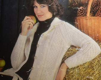 PDF vintage cable lady's jacket cardigan vintage knitting pattern pdf INSTANT download pattern only