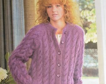 Vintage knitting pattern chunky cardigan jacket lady's PDF instant download pattern only pdf 1980s