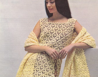 Womens vintage crochet dress pattern dress and stole pdf INSTANT download pattern only pdf 1970s