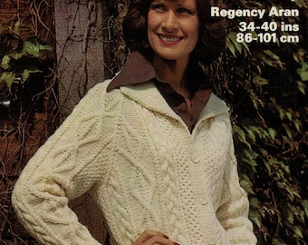 PDF  womens aran cable cardigan jacket vintage knitting pattern pdf INSTANT download sweater pattern only pdf