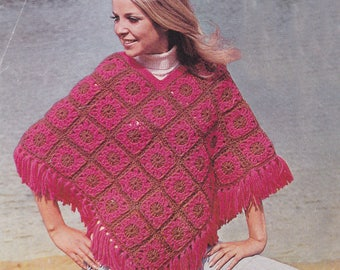 Womens crochet poncho vintage crochet pattern poncho cover up pdf INSTANT download pattern only