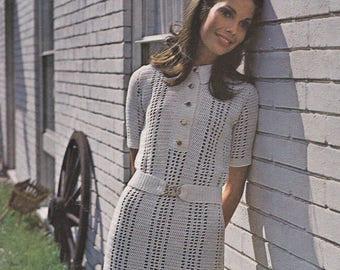 Womens crochet dress vintage crochet dress pattern dress pdf INSTANT download pattern only pdf belted dress