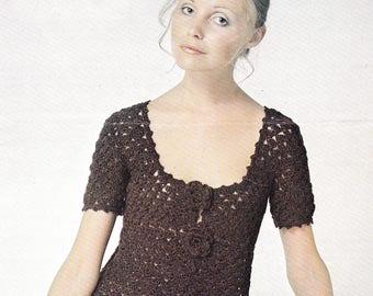 Womens crochet dress vintage crochet dress pattern dress pdf INSTANT download pattern only pdf 1970s adjustable length