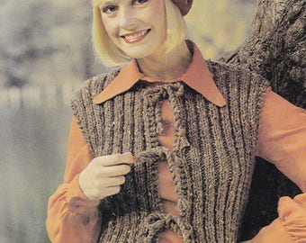 Womens sleeveless cardigan waistcoat jiffy jacket  vintage knitting pattern pdf INSTANT download pattern only pdf 1970s gilet