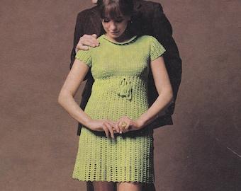 Womens crochet dress vintage crochet dress pattern dress pdf INSTANT download pattern only pdf 1970s