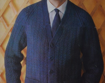 Men's ribbed raglan cardigan sizes 40 to 44 inches vintage knitting pattern pdf download men's sweater jumper pattern only pdf 1960s