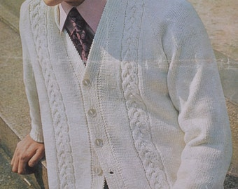 Mens cable cardigan sizes 38 to 44 inches vintage knitting pattern pdf INSTANT download men's cable sweater jumper pattern only