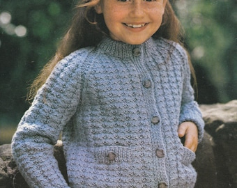 PDF child's textured cardigan jacket double knitting INSTANT download vintage knitting pattern only pdf 1970s kid's