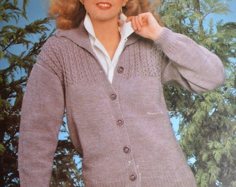 Vintage knitting pattern lady's cardigan double knitting pdf INSTANT download pattern only pdf