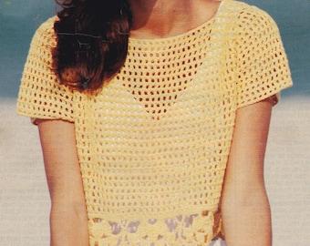 Womens pdf vintage crochet pattern mesh top sweater pdf INSTANT download pattern only pdf