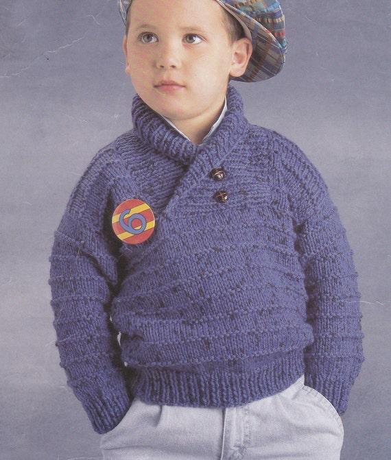 Vintage Knitting Pattern Boys Chunky Sweater Shawl Collar Etsy