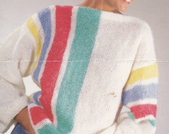 PDF baggy sweater vintage knitting pattern ladys jumper baggy big sweater pdf INSTANT download pattern only