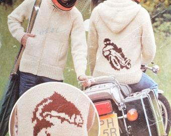 Men's hoodie hooded jacket pattern motorbike fishing cardigan sizes 36 to 42 inch knitting pattern pdf INSTANT download 1980s