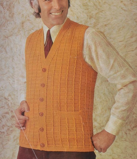 Pdf Crochet Mens Waistcoat Vest Vintage Crochet Pattern Etsy