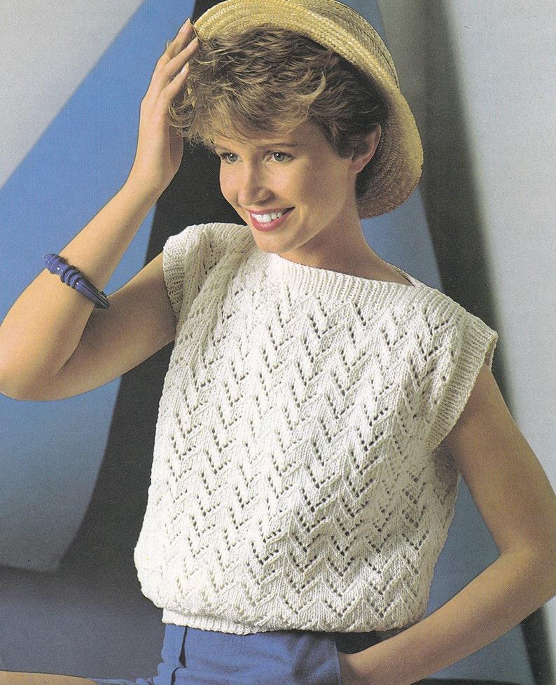 2df71b3c8 PDF vintage knitting pattern boat neck top sleeveless sweater
