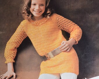Vintage crochet pattern girls dress pdf tunic top INSTANT download crochet pattern only pdf 1970s