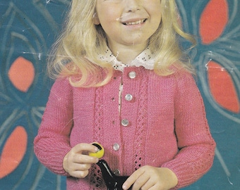 Vintage knitting pattern girl's cute cardigan 4 ply double knitting pdf INSTANT download pattern only pdf girls