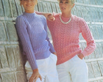 PDF two lady's jumper vintage knitting pattern pdf INSTANT download pattern only pdf