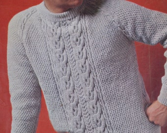 Men's cable sweater vintage knitting pattern pdf INSTANT download men's cable sweater jumper pattern only 1960s