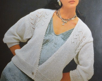PDF lady's cardigan lacy look vintage knitting pattern INSTANT download pattern only pdf 1980s