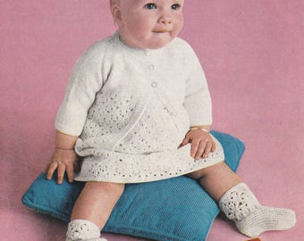Baby dress cardigan pattern knitting pattern baby cardigan dress bootees pdf INSTANT download pattern only