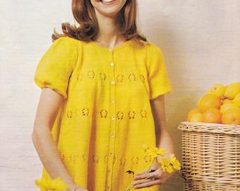 PDF lady's pretty smock top vintage knitting pattern pdf INSTANT download pattern only pdf 1970s