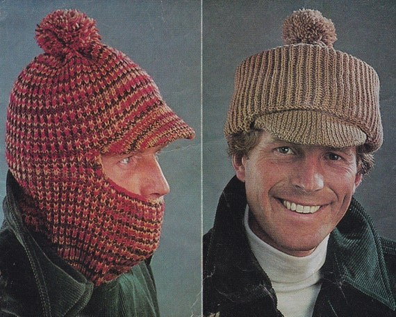 Vintage Knitting Pattern Mens Hat Hats Balaclava Peaked Cap Pdf