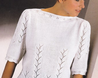 PDF Lady's lacy look short sleeve top sweater 4 ply vintage knitting pattern pdf INSTANT download pattern only pdf