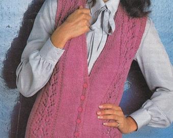 PDF vintage waistcoat knitting pattern vest lady's pdf INSTANT download pattern only pdf