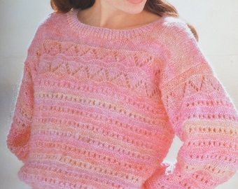PDF lady's sweater jumper vintage knitting pattern pdf download pattern only pdf 1980s