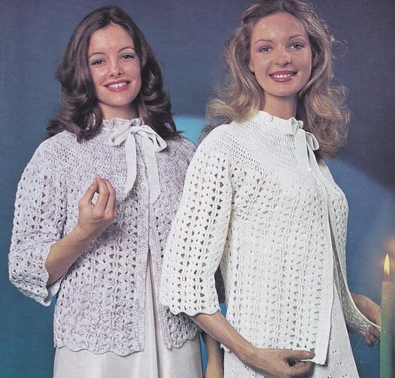 Women Bed Jacket Vintage Crochet Bedjacket Pattern Crocheted Etsy