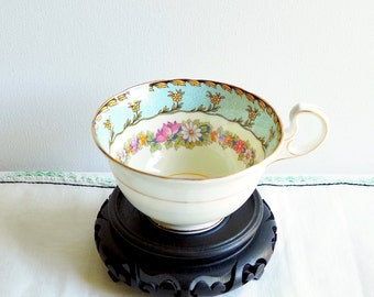 Vintage Aynsley ORPHAN Teacup, England. Pink, White, Orange Florals on Blue Band with Greenery. Pastel Blue Border with Yellow Florals