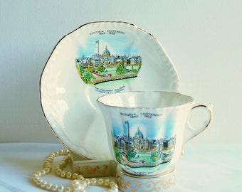 Vintage Royal Grafton 'Victoria Centennial' Teacup & Saucer, England. The Parliament Buildings 1862-1962, Victoria B.C. Canada, Souvenir